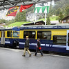 We changed in the valley town of Lauterbrunnen to the cog railway to Wengen.  Lauterbrunnen is the valley filled with fog in the first photo.