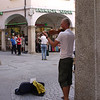 Beautiful music for donations in one square in Lugano.