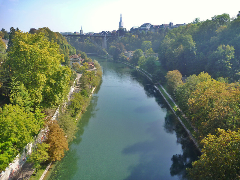 The Aare River winds around the Old Town section of Bern.  That's the Munster/Cathedral, the tallest spire.  It's currently hidden under scaffolding .