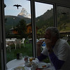 The Matterhorn from breakfast.  Those hawk silhouettes must be required.  They're everywhere.
