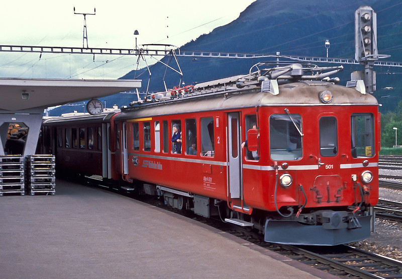 RhB ABe4/4 501 is seen at Samedan on 4 July with the shuttle to Pontresina