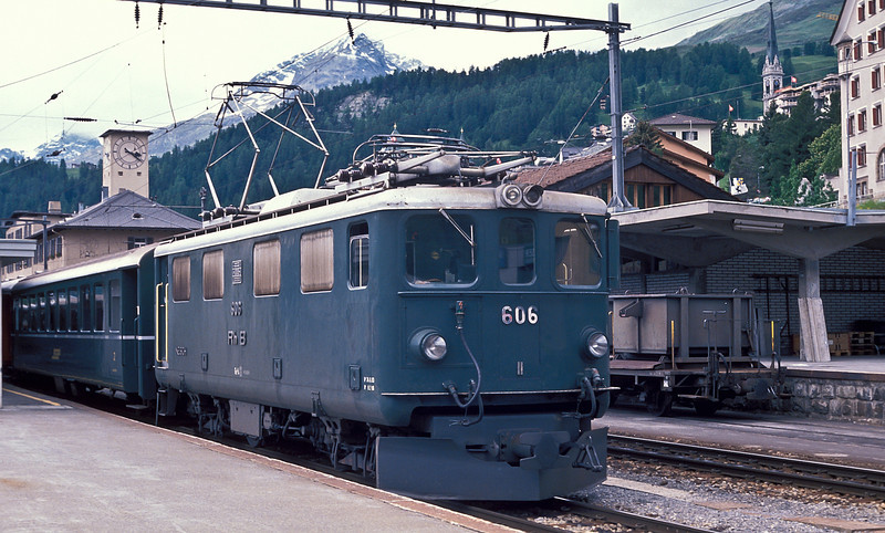 RhB Ge4/4 I 606 'Kesch' is still in green livery and has yet to be rebuilt in this shot at St. Moritz on4 July 1988