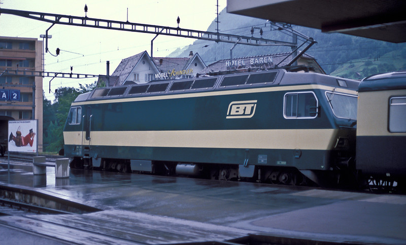 Bodensee Toggenburg 93 waits at Arth Goldau on a very wet morning of 4 July 1988 to push the 07:25, train 2561, to Romanshorn
