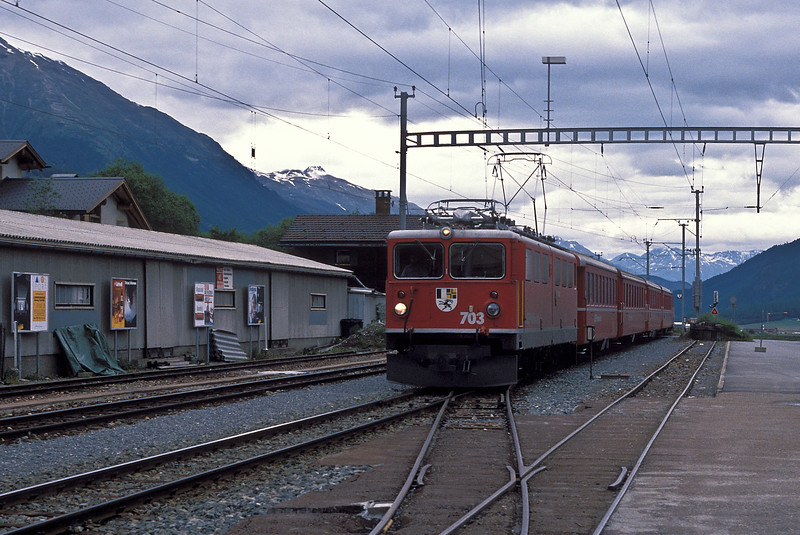 RhB Ge6/6 II 703 'St. Moritz' enters Celerina on 4 July 1988 with a train for its namesake town