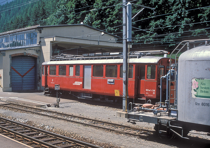 RhB Bernina line BDe4/4 38 is outside the small depot at Poschiavo on 2 July 1988