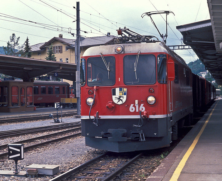 RhB Ge4/4 II 616 'Filisur' waits to depart from St. Moritz with train 562, the 15:36 to Thusis, on 4 July 1988