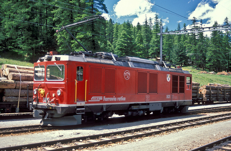 RhB Gem4/4 801 'Steinbock' in the yard at Pontresina having worked a service from Poschiavo on 2 July 1988