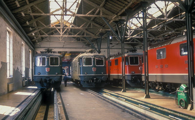 Sitting inside Lausanne depot on a Saturday afternoon on 9 July 1988 were SBB Re4/4ii 11338. 11307, 11182 and 11183