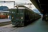 SBB Brunig Line Deh4/4 916 sits in the platform at Interlaken Ost on 7 July 1988