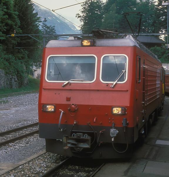 SBB Brunig Line HGe4/4 1952 runs into Brunig with train 6325, the 0933 from Interlaken to Luzern, on 7 July 1988