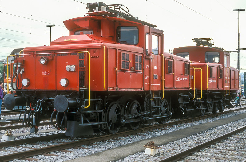 Dual voltage shunting engines Ee3/3ii 16519 and 16518 at Lausanne on 14 June 1997