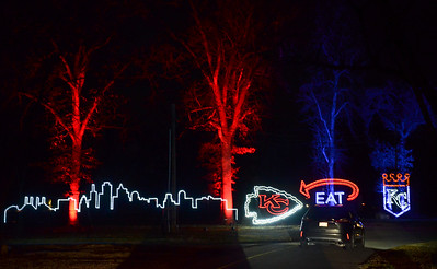 Winter Magic in Swope park features a drive-through experience showcasing many Kansas City icons and brightly illumnated twists and turns.