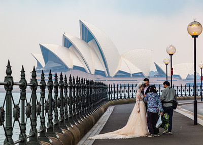 Sydney Opera House Sydney New South Wales Australia. Wedding party talking by the roadside. Editorial photo.