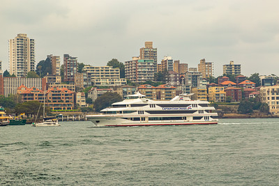 Modern building in Kirribilli Sydney New South Wales Australia.  Cruise ship in the Sydney Harbor. Editorial photo.
