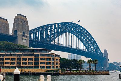 The Sydney Harbor bridge on a rather cloudy day in Sydney New South Wales, Australia