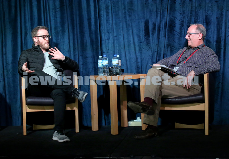 SJWF at Waverley Library. John Safran and Scott Whitmont. Pic Noel Kessel