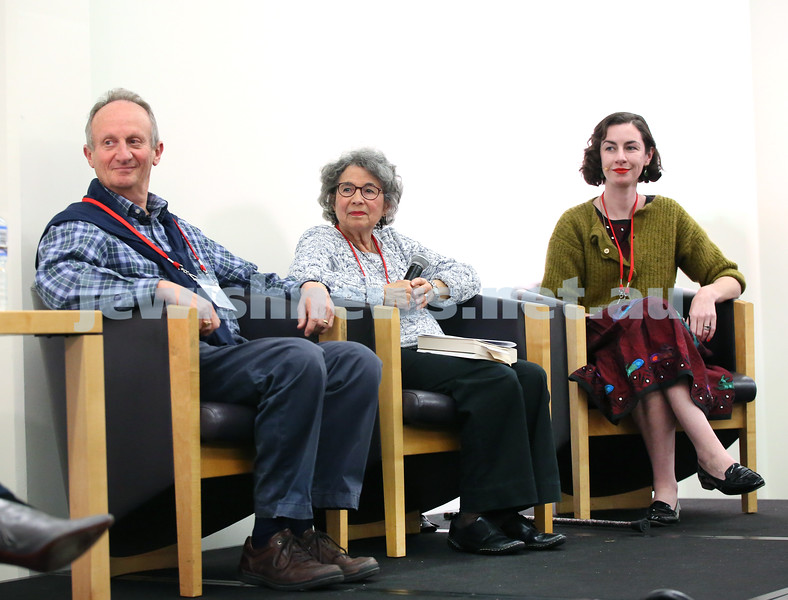 SJWF at Waverley Library. From left: Mark Tedeschi, Sara Dowse, Mia Friedmann. Pic Noel Kessel