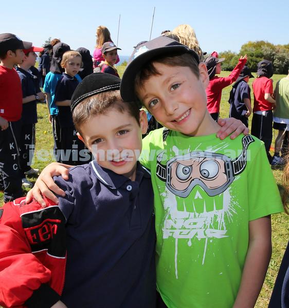 Kesser Torah College Infants Primary Sports Carnival. Aiden Suntup & JJ Raskin.