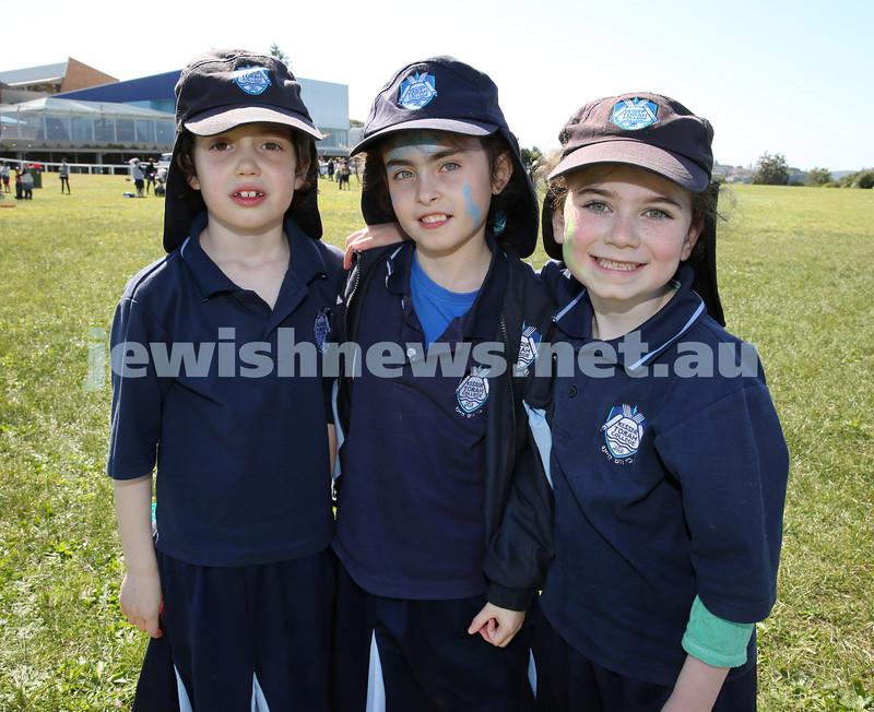 Kesser Torah College Infants Primary Sports Carnival. Esther Davis, Kayla Vogel, Dina Lowinger.