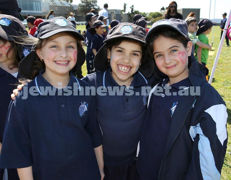 Kesser Torah College Infants Primary Sports Carnival. Chaya Greenwald, Elisheva Traurig, Shira Zaetz.