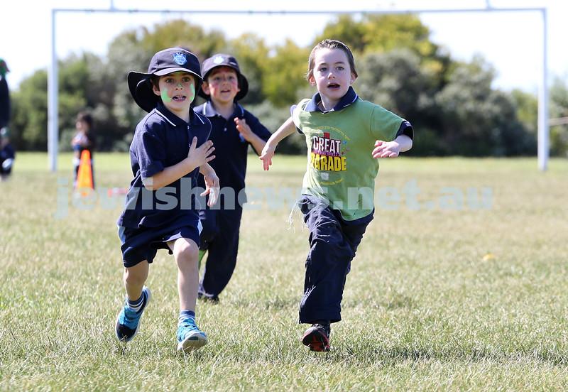Kesser Torah College Infants Primary Sports Carnival. Noah Weinberg, Noah Harkham, Mendel Moss.