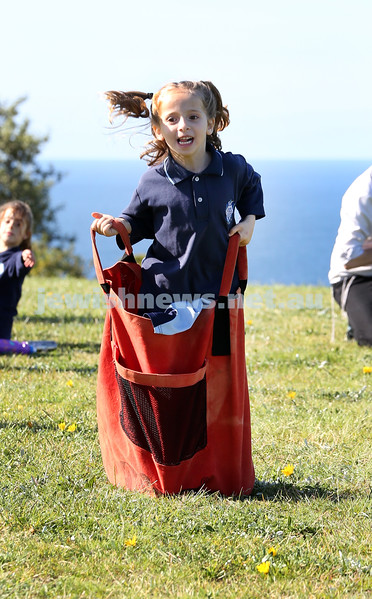 Kesser Torah College Infants Primary Sports Carnival. Sara Silber competing in the sack race.