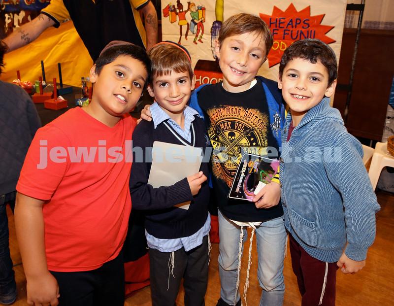 Combined shules Lag Ba'Omer celebration at Tzemach Tzedek Shule. Levi Silva, Ariel Moss, JJ Raskin, Kovi Kluwgant.