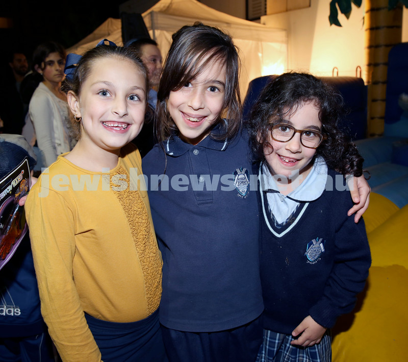 Combined shules Lag Ba'Omer celebration at Tzemach Tzedek Shule. Chaya Greenwald, Rosie Kastel, Priva Schlanger.