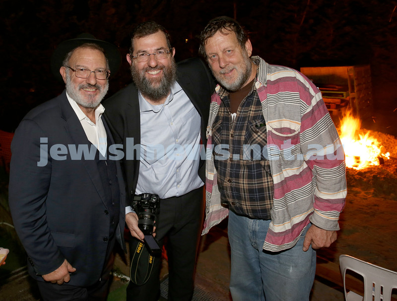 Combined shules Lag Ba'Omer celebration at Tzemach Tzedek Shule. Rev. Henry Amzalak, Benny Amzalak, Rami Harel.