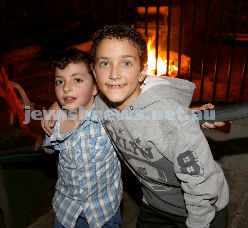 Combined shules Lag Ba'Omer celebration at Tzemach Tzedek Shule. Alon Eldar and Zephyr Damari.