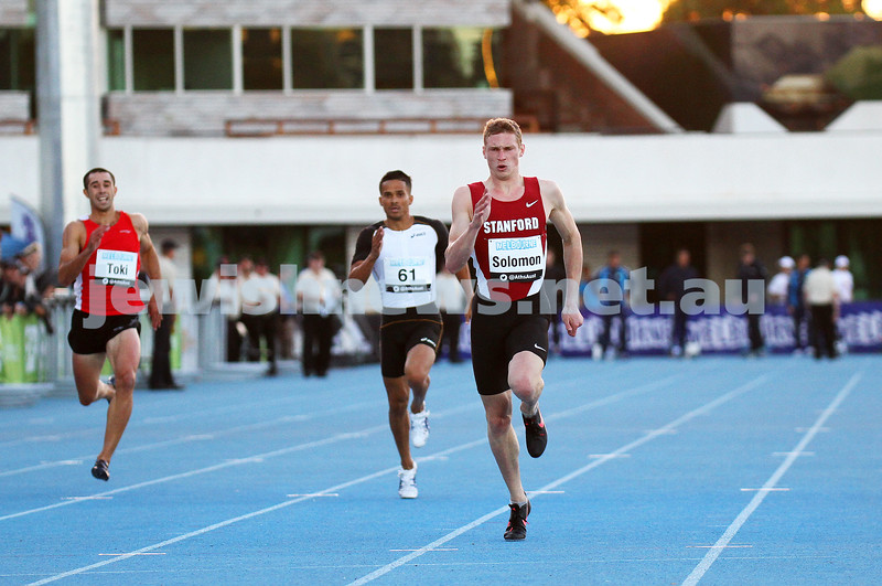5-4-14. Australian Athletic Championships. Lakeside Stadium. 2012 Olympic finalist Steve Solomon on his way to winning his third Australian 400m title. Photo: Peter Haskin