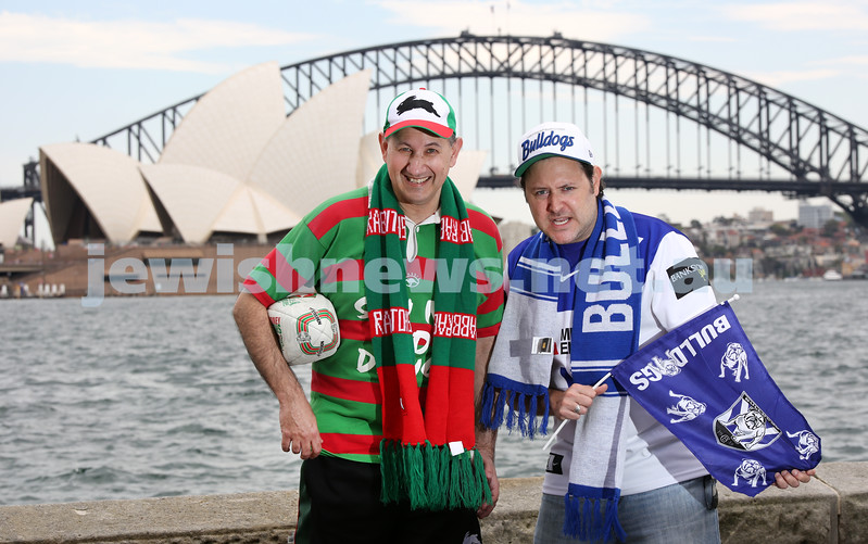 Rabbitohs supporter Jeremy Jones AM, Director of International and of Community Affairs for the Australia/Israel & Jewish Affairs Council with AJN reporter and rival Bulldogs supporter Gareth Narunsky ahead of this weekend's NRL Grandfinal.