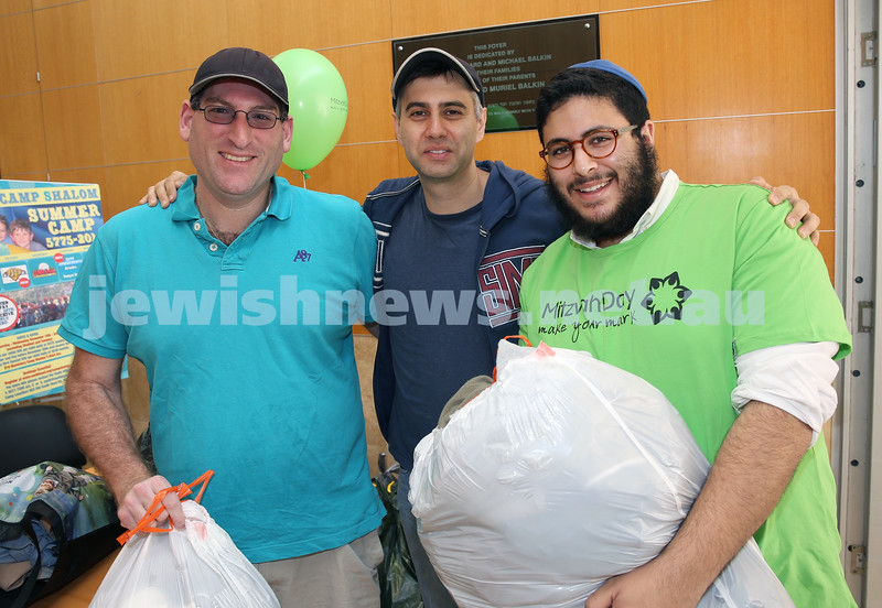Mitzvah Day - C Teen Clothing Drive at South Head Synagogue. Bary Meskin, Dale Carr & Tzemach Yemini.