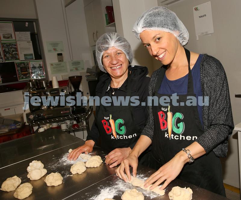 Gluten Free Challah baking at OBK. Eve Friedman and her daughter Dina Savitz roll challah dough.