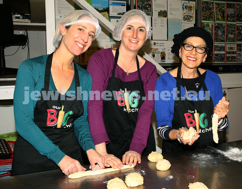 Gluten Free Challah baking at OBK. Candice Palmer , Nicky Odes and Bonita Levy roll challah dough.