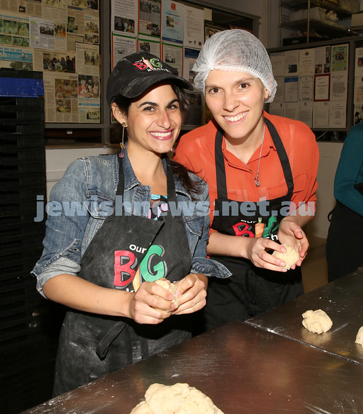Gluten Free Challah baking at OBK. Orly Gottesman and Kerri Rosettenstein roll challah dough.
