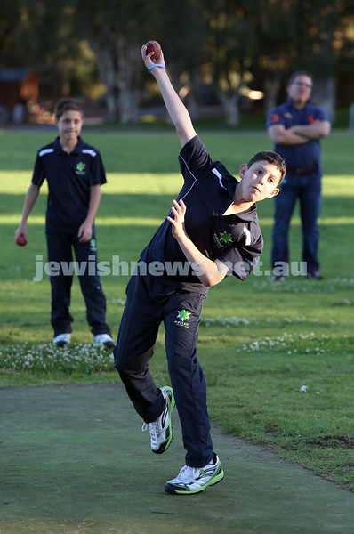 Maccabi Junior Cricket training at Rose Bay. Noah Feilich bowling in the nets during practice.
