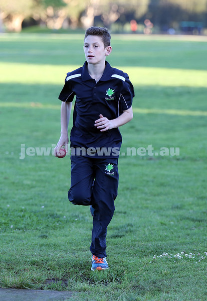 Maccabi Junior Cricket training at Rose Bay. Ryan Collins runs up to the crease during bowling practice in the nets.