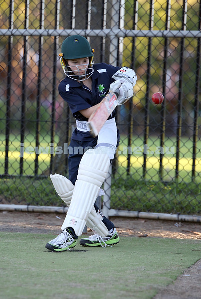 Maccabi Junior Cricket training at Rose Bay. Jake Ziman batting in the nets.
