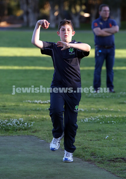 Maccabi Junior Cricket training at Rose Bay. Josh Segal bowling in the nets during practice.