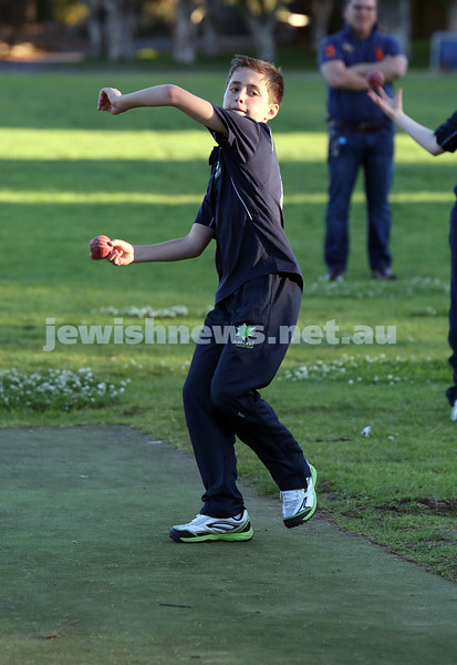 Maccabi Junior Cricket training at Rose Bay. Ethan De Melo bowling in the nets during practice.
