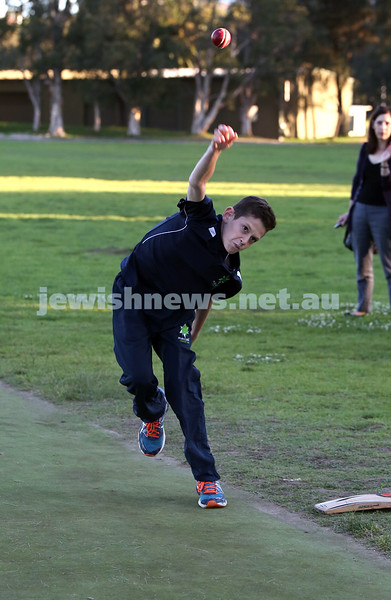 Maccabi Junior Cricket training at Rose Bay. Ryan Collins bowls in the nets during training.