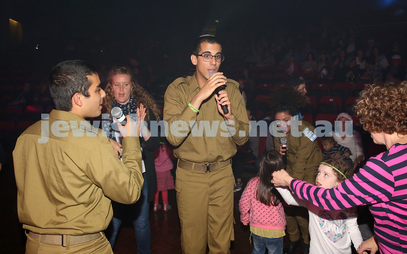 Communal Yom Haatzmaut Celebration at Moriah College. IDF Band take to the audience during their concert.