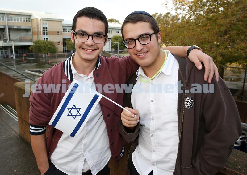 Communal Yom Haatzmaut Celebration at Moriah College. Mendel Slavin & Menny Feldman.