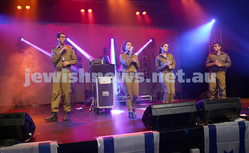 Communal Yom Haatzmaut Celebration at Moriah College. IDF Band perform on stage.