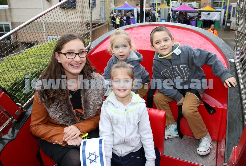 Communal Yom Haatzmaut Celebration at Moriah College. Chanie, Miri, Yaakov, Meir Gershowitz having fun on the Pirate Ship.