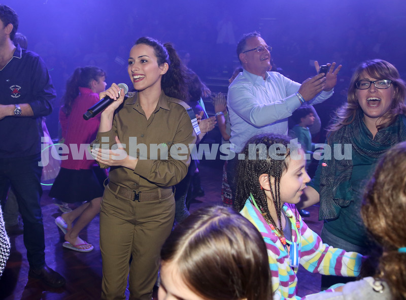Communal Yom Haatzmaut Celebration at Moriah College. IDF Band during the concert. Hadar Saydof joins the audience.