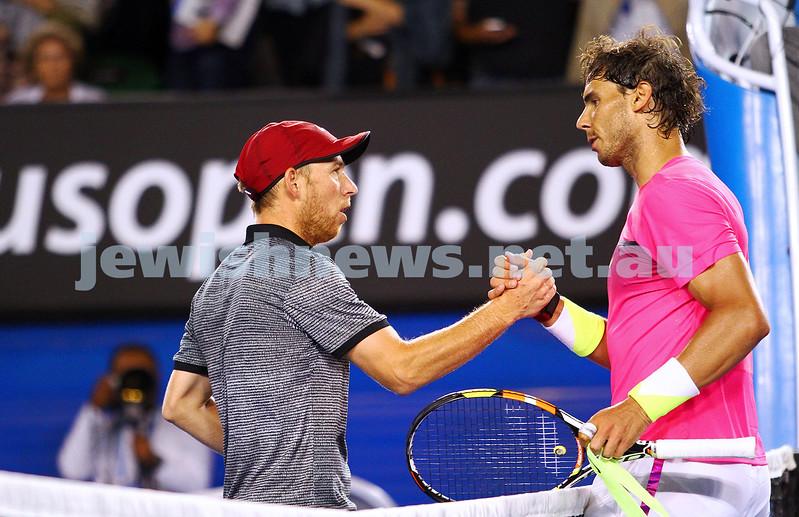 23-1-15. Australian Open 2015. Men's Round 3. Rod laver Arena.  Dudi Sela lost to Rafael Nadal (3) 1-6 0-6 5-7. Photo: Peter Haskin