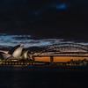 View of Sydney Opera House and Sydney Harbour Bridge.