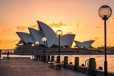 View of Sydney Opera House at sunrise.